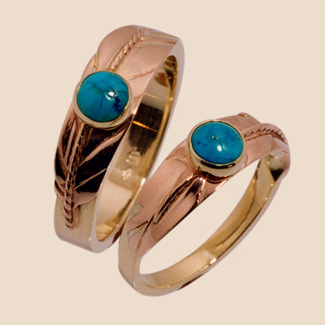 Turquoise Dream, red and yellow gold eagle feather wedding rings by Zhaawano Giizhik set with turquoise stones