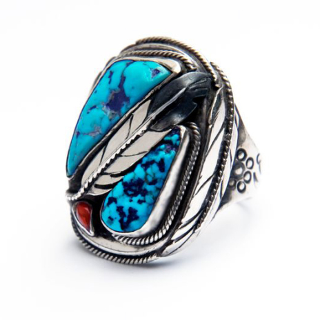 Native American turquoise ring Both Sides of the Sky