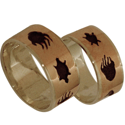 Native American Bear and Turtle clan wedding rings