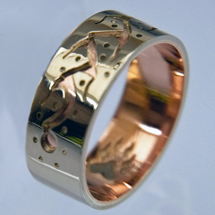 Midewiwin Path Bear Clan ring designed by Anishinaabe Wedding rings