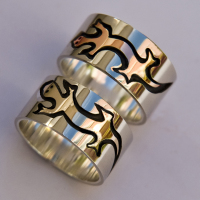 Ojibwe marten and Odagaamii fisher clan ring set
