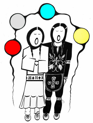 Anishinaabe Wedding pen and ink drawing by Zhaawano Giizhik