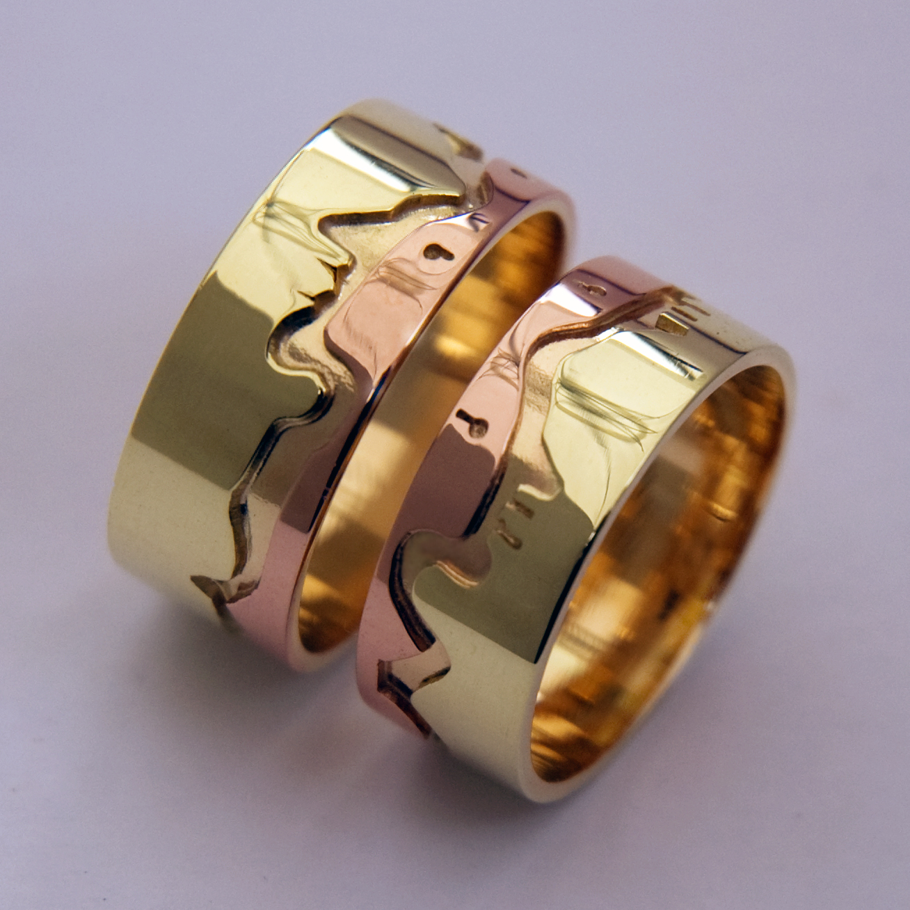 Native American wedding rings based on the seven Ojibwe Midewiwin Grandfather Teachings