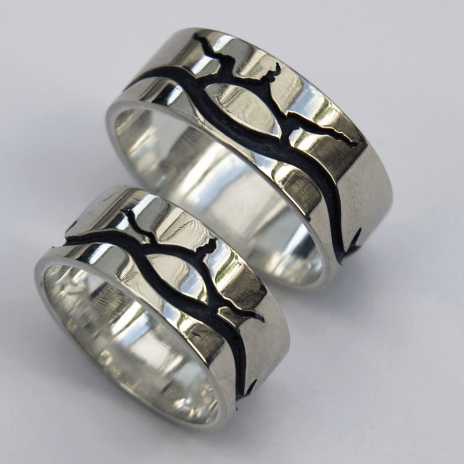 Biboonii-gamiing Ojibwe wedding rings by Zhaawano