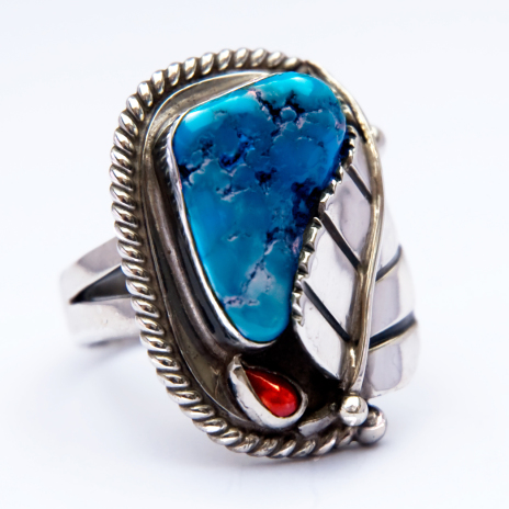 Thunder Leaf silver and turquoise ring by Zhaawano Giizhik