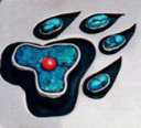 Wolf paw design by Native Woodland Art jeweler Zhaawano