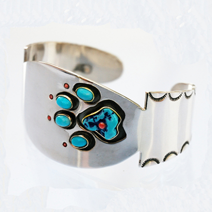 Anishinaabe style wolf paw cuff bracelet Walks Around the Earth