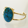 Southern Sky Native American ladies gold and turquoise cuff bracelet