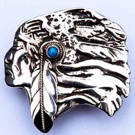 Native American style sterling silver belt buckle My Good Enemy designed by Zhaawano