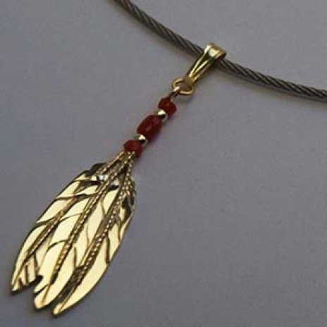 Eagle feather pendant Three Fires, One Spirit, One Mind