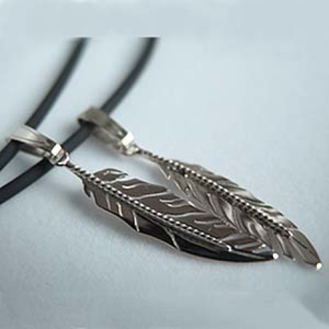 White gold eagle feather pendants Migizi Miigwan
