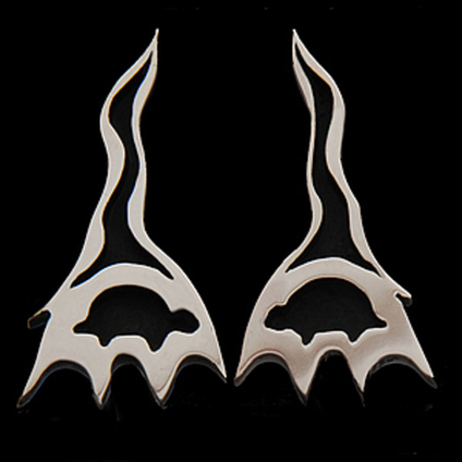 Native American earrings Ojibwe-style of white gold and sterling silver