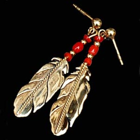 Native American style gold and red coral post back earrings Sky spirit