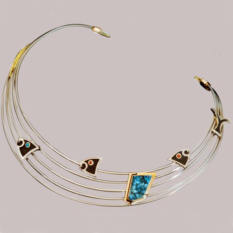 Native American set of necklace and earrings depicting Ojibwe Midewiwin Life Teachings