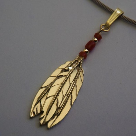 Anishinaabe Midewiwin inspired collar necklace of gold, red coral and stainless steel