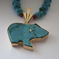 Turquoise Spirit Bear fetish necklace