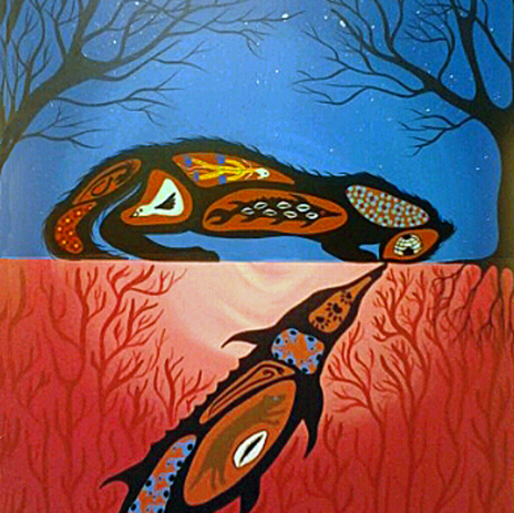Acrylic painting by Ojibwe painter Simone McLeod titled Akajigibiishin
