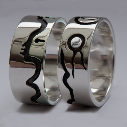 Sterling silver wedding rings Our Love Springs From The Bosom Of The Earth