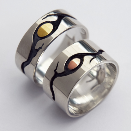 Ojibwe wedding rings Wayeshkad of sterling silver and gold inlay