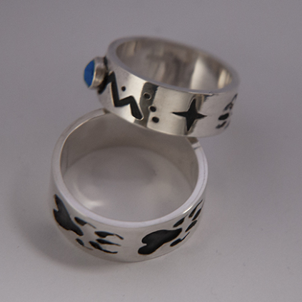 Native American style silver storyteller rings Medicine Bear Mountain