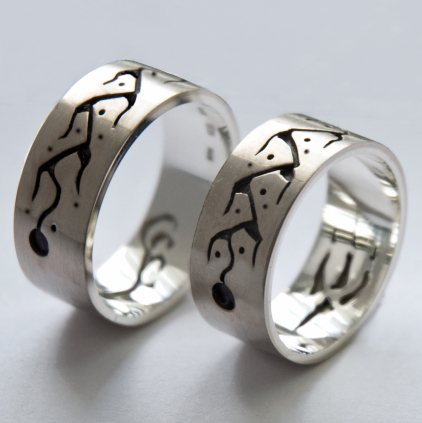 Sterling silver Midewiwin Life Road wedding bands