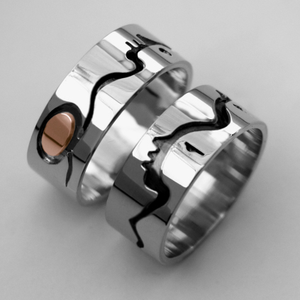Native American silver wedding rings Anishinaabe Woodland Art style