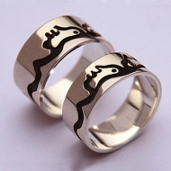 Sterling silver Native American Anishinaabe wedding rings Earth and Sky
