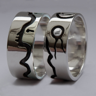 Native American silver Ojibwe graphic overlay wedding rings From the Bosom of the Earth