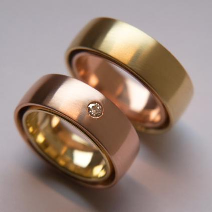 Earth And Sun bicolor gold Native American duo designer rings
