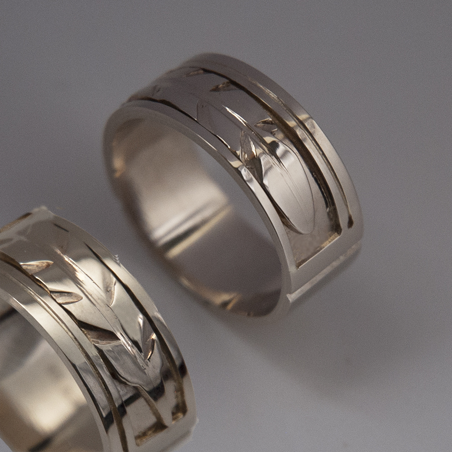 Oshki-waaseyaaban eagle feather wedding rings image 2