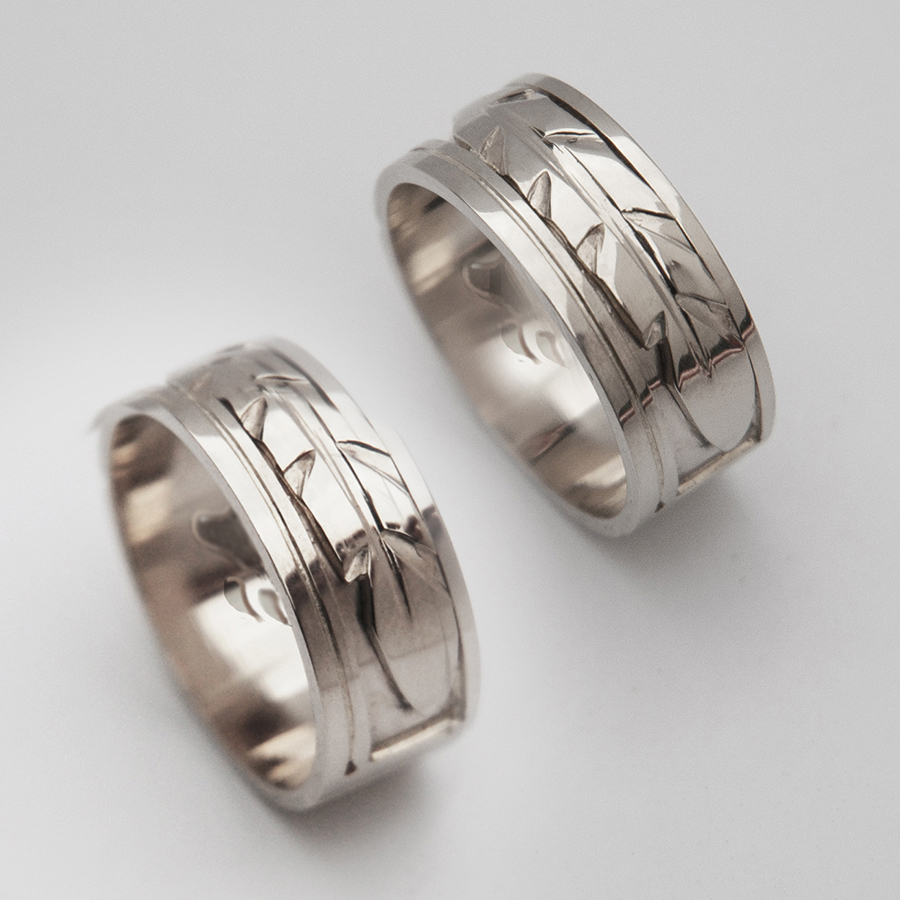 First Light of Dawn wedding bands bear paw interiors
