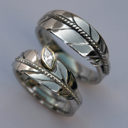 White gold wedding rings set Oshkigin