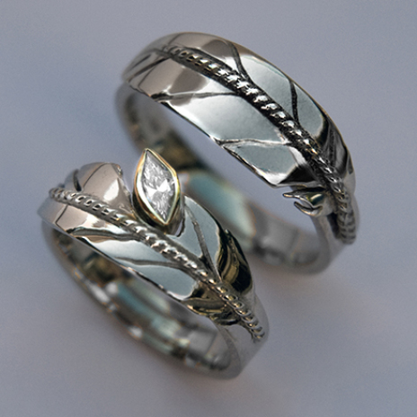 Ojibwe style eagle feather ring set Oshkigin