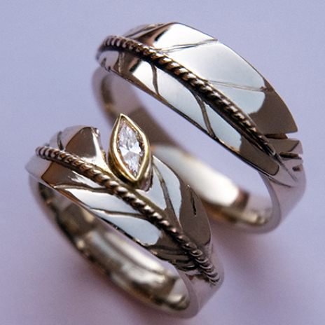 White gold eagle feather wedding ring set New Growth