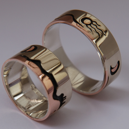 Gizhibaa Giizhig side view wedding rings