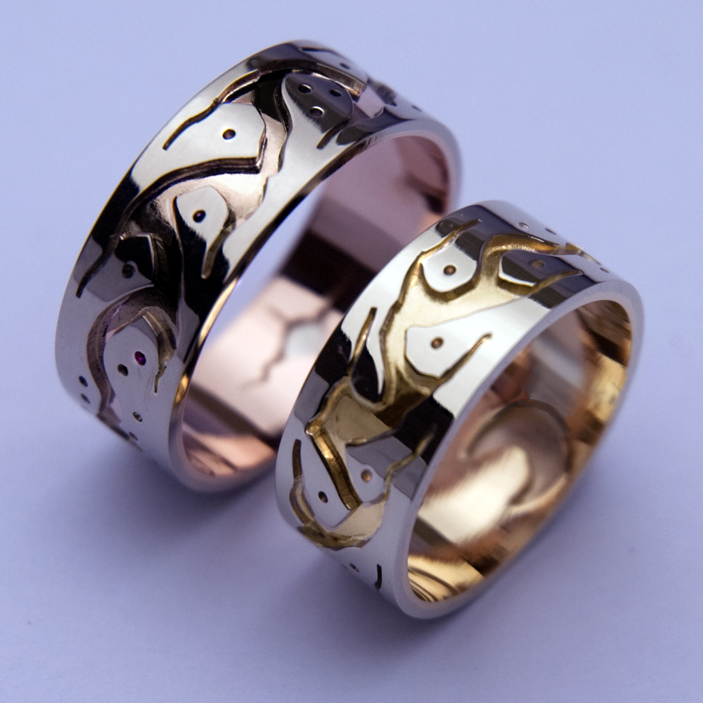 Native American wisdom and Hekling wedding ring set