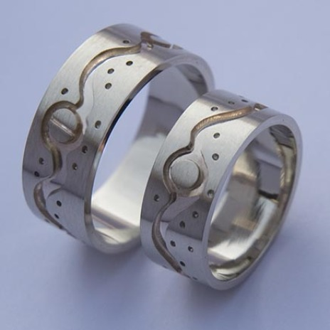 White gold Ojibwe-style wedding bands A Moonlit River