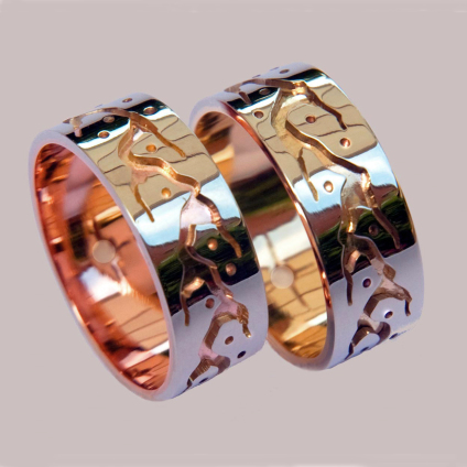 Ojibwe grahic overlay Midewiwin Sun Path wedding bands