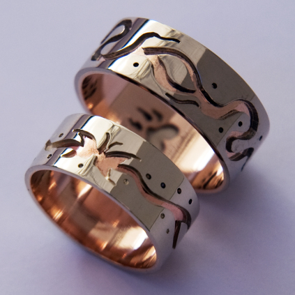 Bimaadiziwin Anaami-waajiwan Anishinaabe wedding rings by Zhaawano