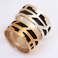 Courage Hopi overlay eagle feather wedding rings