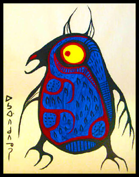 Owl acrylic by Norval Morrisseau