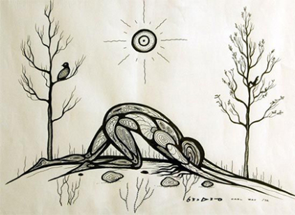 Carl Ray Despair Ink on white art paper 1972