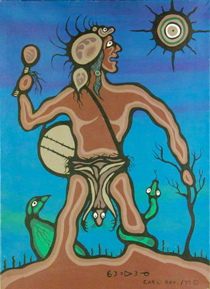 Carl Ray Medicine Man and animals acrylic on canvas