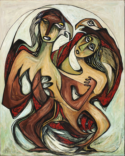 Daphne Odjig, So Great Was Their Love, 1975, acrylic on canvas