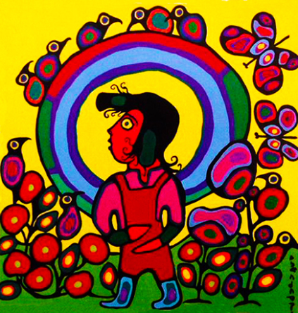 Child with Halo acrylic on canvas by Norval Morrisseau 1995