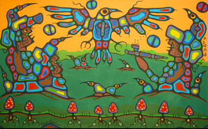 Norval Morrisseau Untitled canvas Thunder Grandfathers 1983