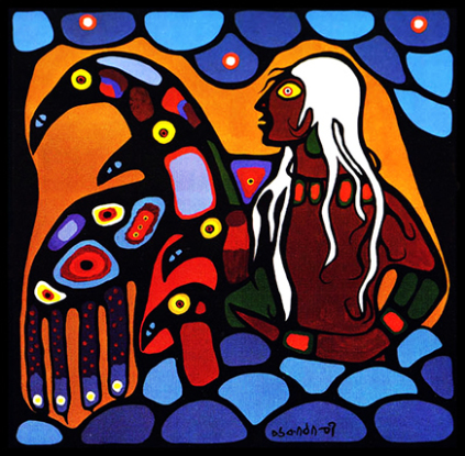 Norval Morrisseau canvas Warrior with Thunderbirds