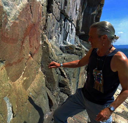The author Zhaawano Giizhik at Agawa Rock Ontario