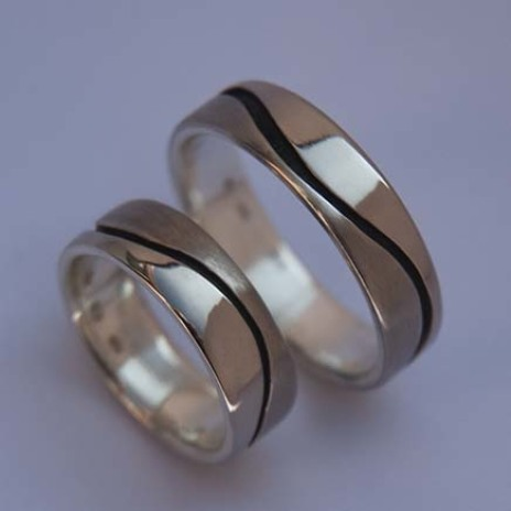 Life Waves white gold designer wedding rings by ZhaawanArt Fisher Star Creations