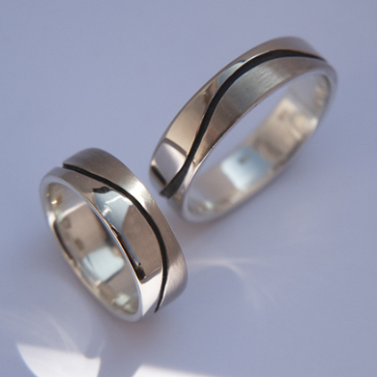 Wedding rings Water is Life designed by Zhaawano Giizhik